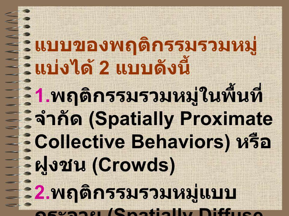 แบบของพฤติกรรมรวมหมู่ แบ่งได้ 2 แบบดังนี้ 1. พฤติกรรมรวมหมู่ในพื้นที่ จำกัด (Spatially Proximate Collective Behaviors) หรือ ฝูงชน (Crowds) 2. พฤติกรรม