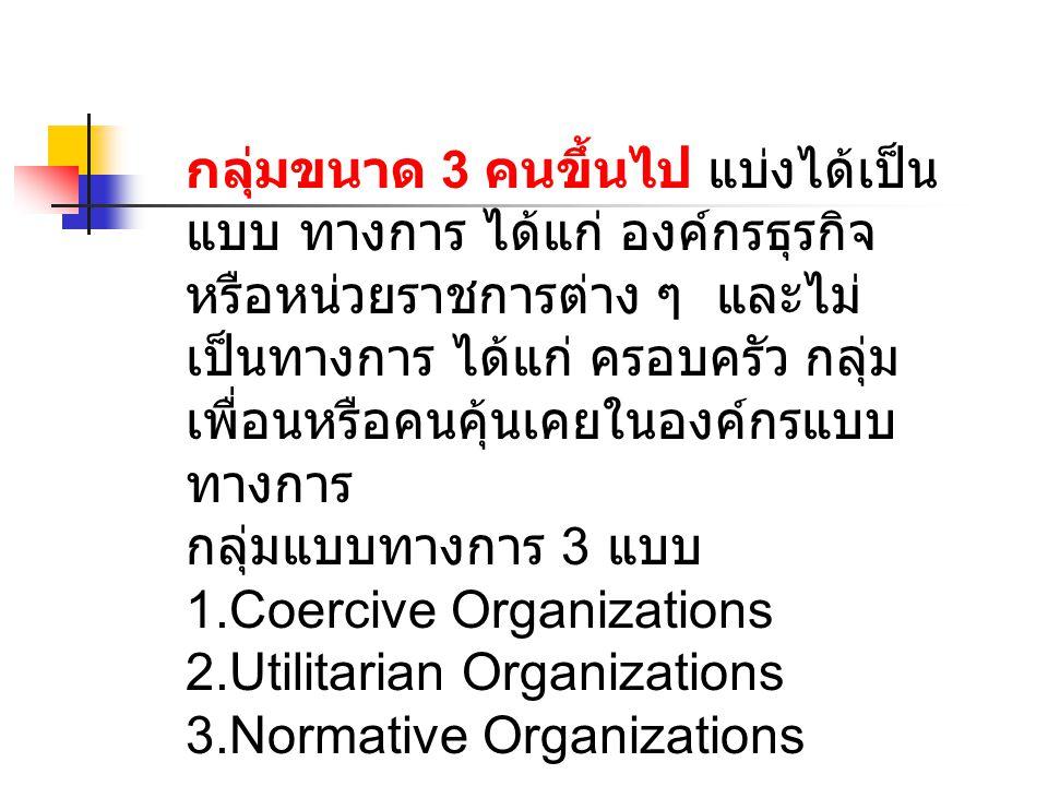 กลุ่มขนาด 3 คนขึ้นไป แบ่งได้เป็น แบบ ทางการ ได้แก่ องค์กรธุรกิจ หรือหน่วยราชการต่าง ๆ และไม่ เป็นทางการ ได้แก่ ครอบครัว กลุ่ม เพื่อนหรือคนคุ้นเคยในองค