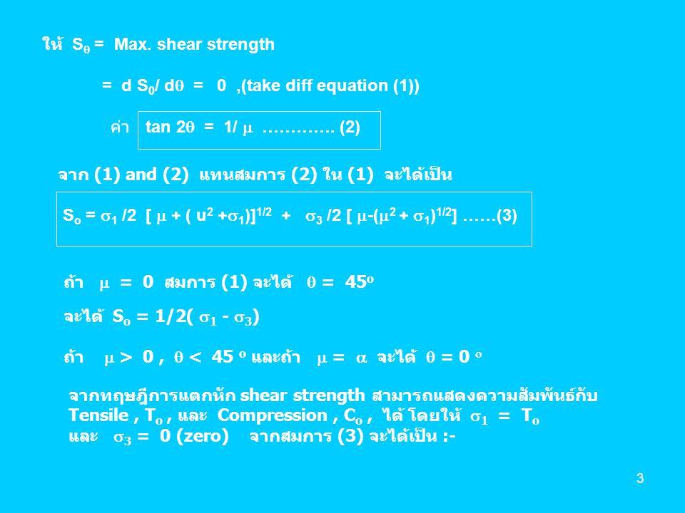 4 S o = T o / 2 [  +(  2 +1) 1/2 ] …………………… (A) สมการ (A) ใช้คำนวณหา shear strength เมื่อทราบ tensile strength ถ้าให้  3 = - C o และ  1 = 0 จะได้เป็น :- S o = C o / 2 [(  2 + 1) 1/2 -  ] ………………..