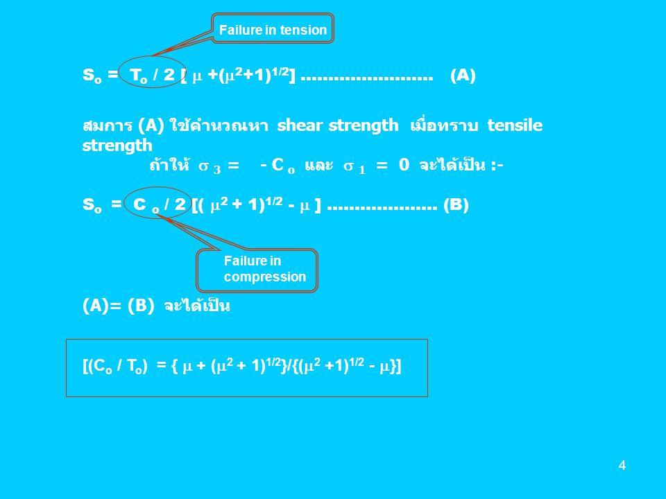 5 สรุป Coulomb Criterion : Failure envelop For 2-D case :  n = 1/2 (  1 +  3 ) + 1/2 (  1 -  3 ).