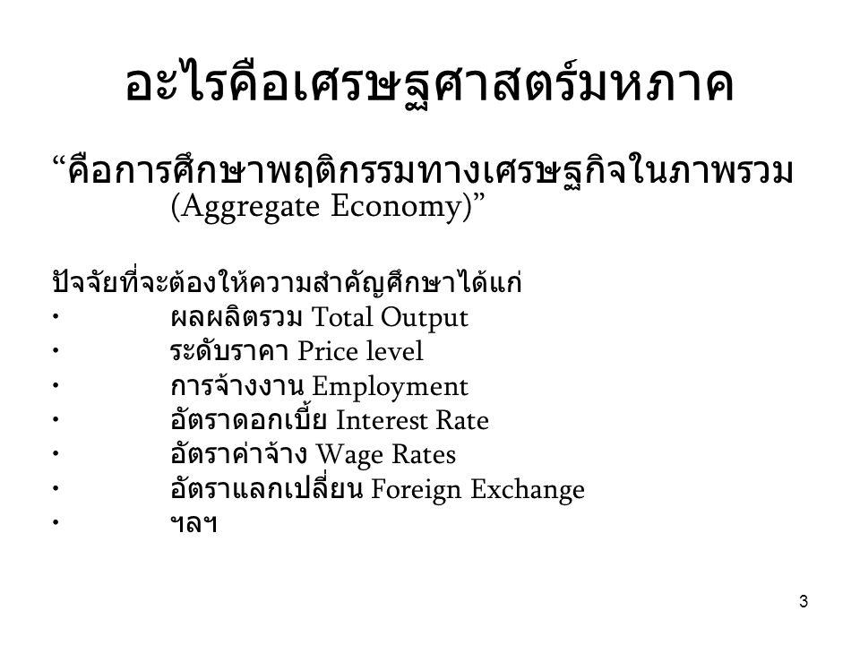 4 การศึกษาเศรษฐศาสตร์มหภาค • ศึกษาผลกระทบหรือปัจจัยต่างๆ – ที่มีต่อการกำหนดระดับการเปลี่ยนแปลงทาง เศรษฐศาสตร์มหภาค (factors that Determine levels) เช่น การใช้จ่ายรัฐบาล – ผลกระทบของปัจจัยเหล่านั้นในแต่ละช่วงเวลา (How the variables change over time) เช่นอัตรา การขยายตัวของเศรษฐกิจ การศึกษาเศรษฐศาสตร์มหภาคจึงเป็นการเรียนรู้ด้านนโยบาย (Policy Oriented) เช่นนโยบายการคลัง - การเงินของรัฐบาล ตัวอย่างของนโยบายคือการเพิ่มการใช้จ่ายรัฐบาล การลดอัตราดอกเบี้ยเงินกู้ของธนาคารกลาง