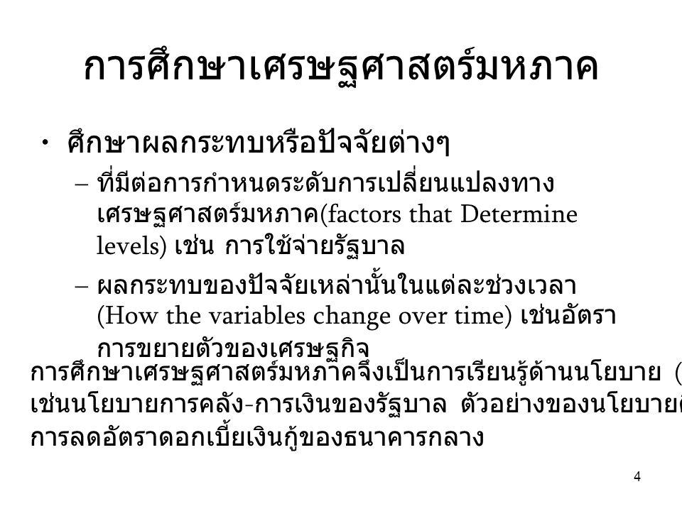4 การศึกษาเศรษฐศาสตร์มหภาค • ศึกษาผลกระทบหรือปัจจัยต่างๆ – ที่มีต่อการกำหนดระดับการเปลี่ยนแปลงทาง เศรษฐศาสตร์มหภาค (factors that Determine levels) เช่