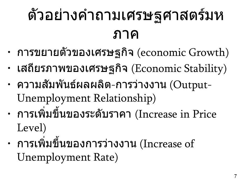 7 ตัวอย่างคำถามเศรษฐศาสตร์มห ภาค • การขยายตัวของเศรษฐกิจ (economic Growth) • เสถียรภาพของเศรษฐกิจ (Economic Stability) • ความสัมพันธ์ผลผลิต - การว่างง