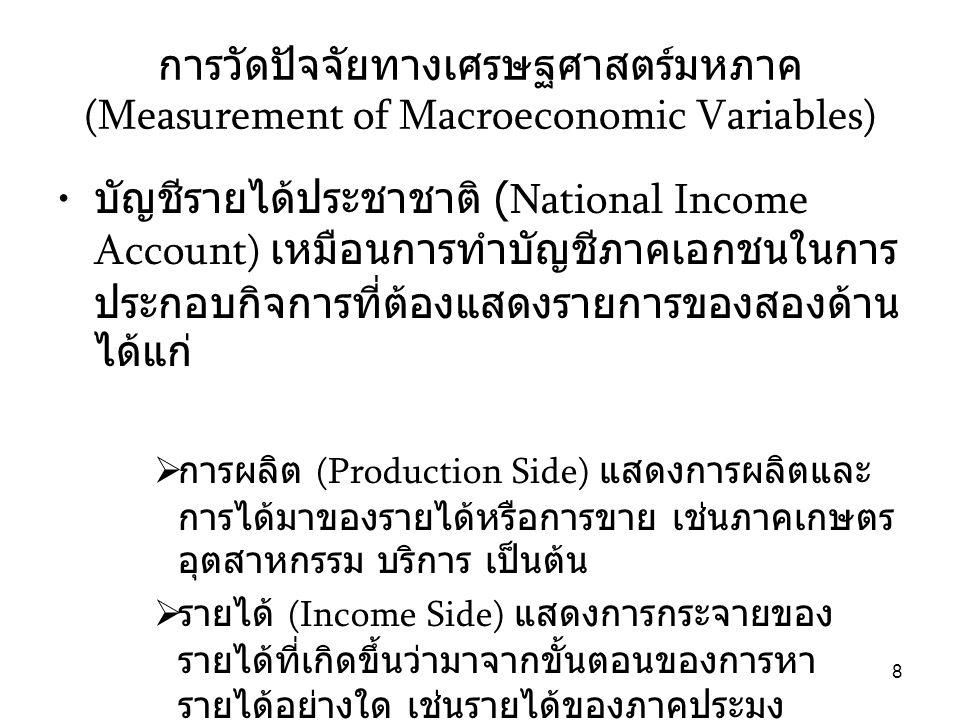 9 การผลิต (Production Side) • การวัดขนาดที่นิยมใช้คือ ผลิตภัณฑ์มวลรวม ประชาชาติ (Gross Domestic Product: GDP) และ รายได้ประชาชาติ (Gross National Product: GNP)