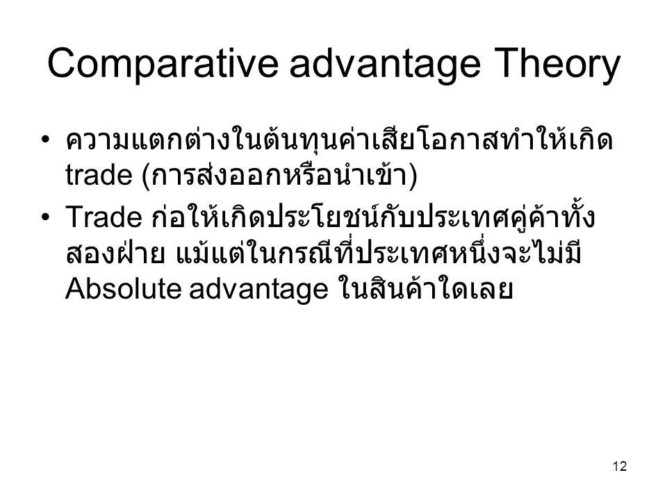 12 Comparative advantage Theory • ความแตกต่างในต้นทุนค่าเสียโอกาสทำให้เกิด trade ( การส่งออกหรือนำเข้า ) •Trade ก่อให้เกิดประโยชน์กับประเทศคู่ค้าทั้ง