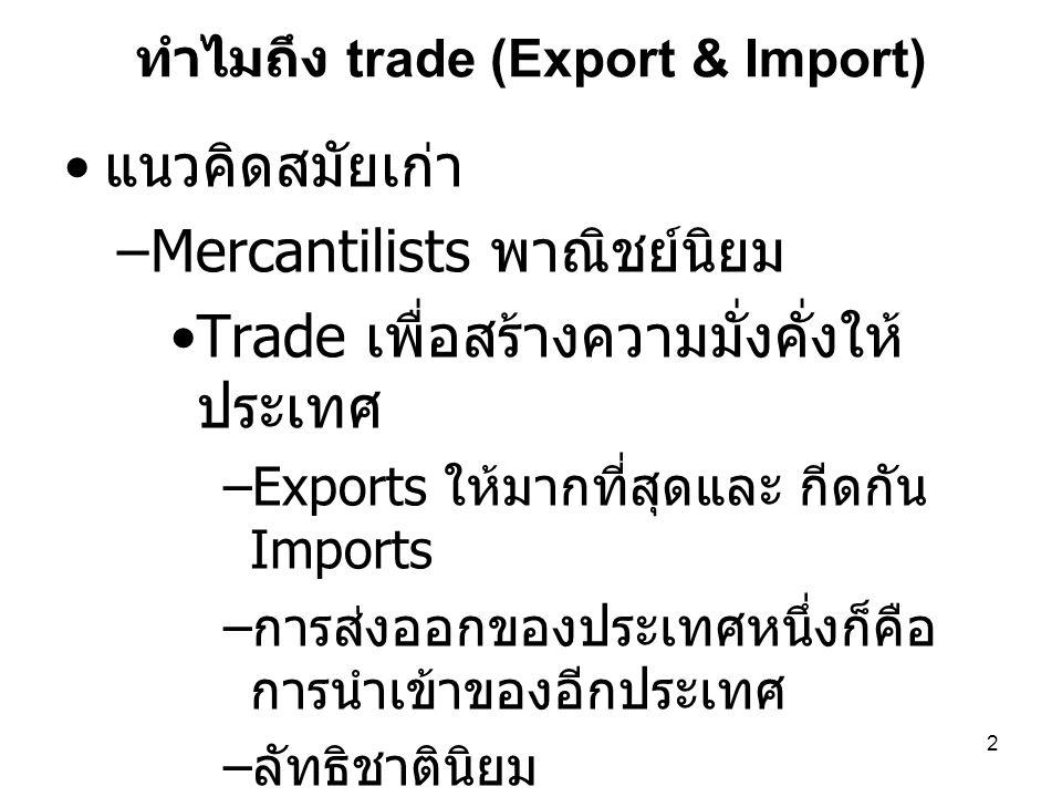 2 ทำไมถึง trade (Export & Import) • แนวคิดสมัยเก่า –Mercantilists พาณิชย์นิยม •Trade เพื่อสร้างความมั่งคั่งให้ ประเทศ –Exports ให้มากที่สุดและ กีดกัน