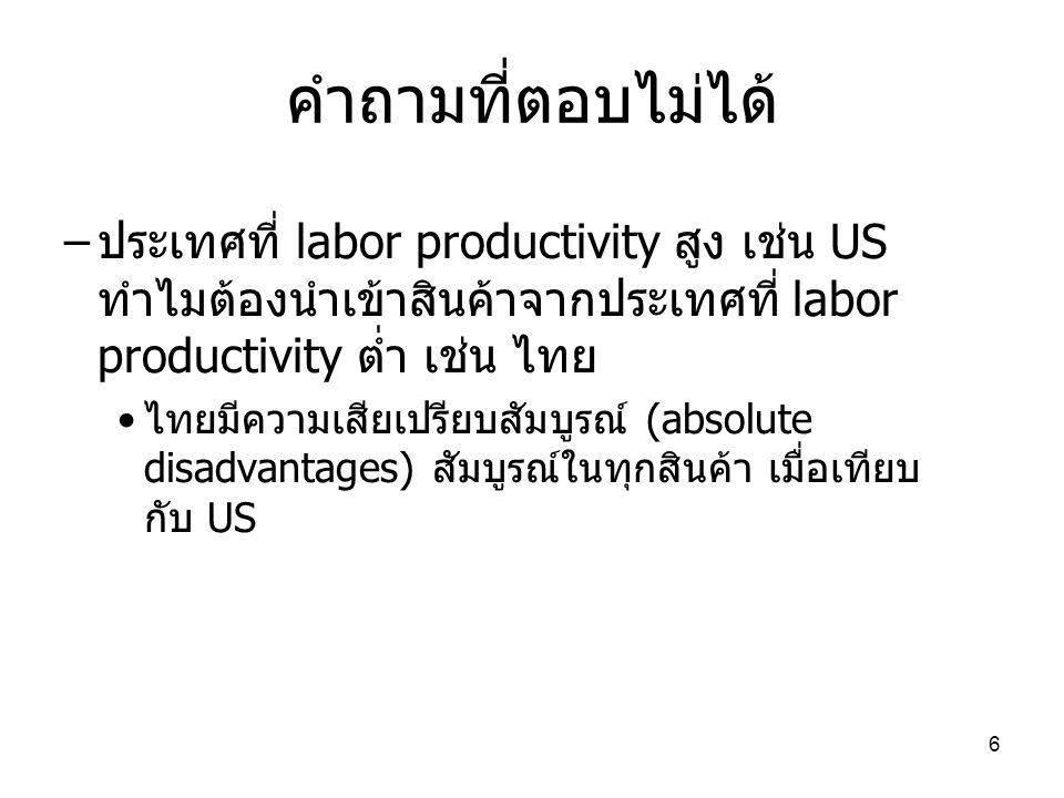 6 คำถามที่ตอบไม่ได้ – ประเทศที่ labor productivity สูง เช่น US ทำไมต้องนำเข้าสินค้าจากประเทศที่ labor productivity ต่ำ เช่น ไทย • ไทยมีความเสียเปรียบส