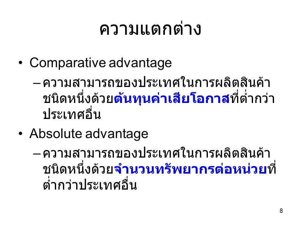8 ความแตกต่าง •Comparative advantage – ความสามารถของประเทศในการผลิตสินค้า ชนิดหนึ่งด้วยต้นทุนค่าเสียโอกาสที่ต่ำกว่า ประเทศอื่น •Absolute advantage – ค