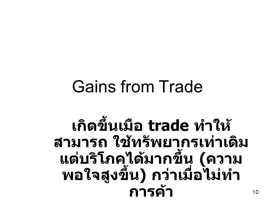 10 Gains from Trade เกิดขึ้นเมือ trade ทำให้ สามารถ ใช้ทรัพยากรเท่าเดิม แต่บริโภคได้มากขึ้น ( ความ พอใจสูงขึ้น ) กว่าเมื่อไม่ทำ การค้า