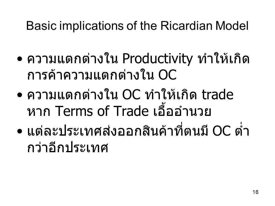 16 Basic implications of the Ricardian Model • ความแตกต่างใน Productivity ทำให้เกิด การค้าความแตกต่างใน OC • ความแตกต่างใน OC ทำให้เกิด trade หาก Term