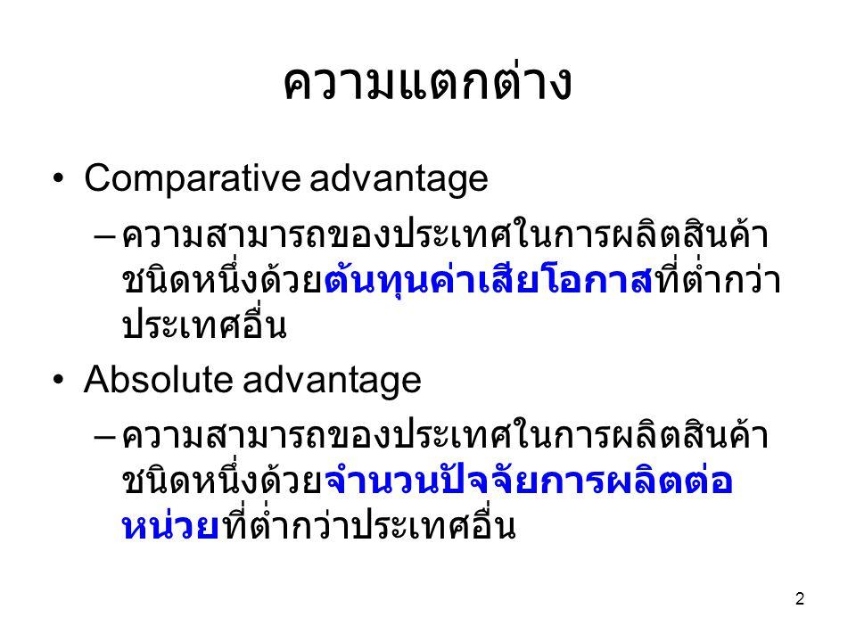 2 ความแตกต่าง •Comparative advantage – ความสามารถของประเทศในการผลิตสินค้า ชนิดหนึ่งด้วยต้นทุนค่าเสียโอกาสที่ต่ำกว่า ประเทศอื่น •Absolute advantage – ค
