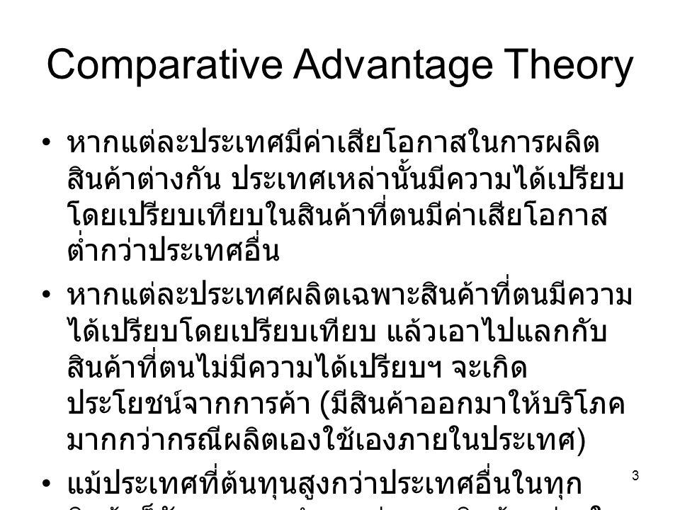 3 Comparative Advantage Theory • หากแต่ละประเทศมีค่าเสียโอกาสในการผลิต สินค้าต่างกัน ประเทศเหล่านั้นมีความได้เปรียบ โดยเปรียบเทียบในสินค้าที่ตนมีค่าเส