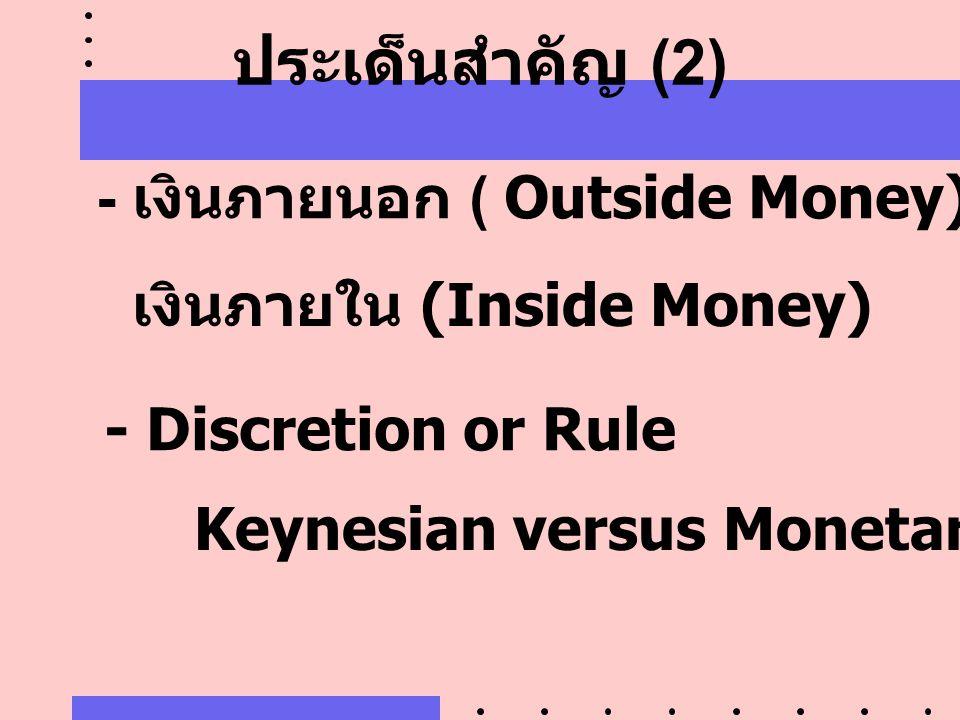 ประเด็นสำคัญ (2) - เงินภายนอก ( Outside Money) เงินภายใน (Inside Money) - Discretion or Rule Keynesian versus Monetarists