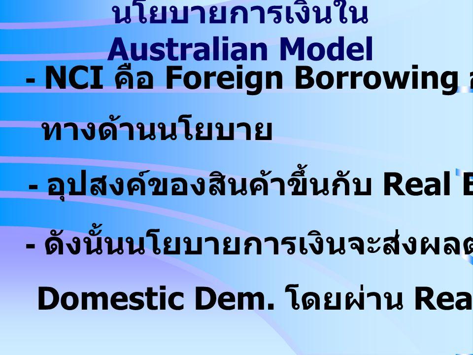 - NCI คือ Foreign Borrowing อันเป็นทางเลือก ทางด้านนโยบาย - อุปสงค์ของสินค้าขึ้นกับ Real Balance (m=M s /P N ) - ดังนั้นนโยบายการเงินจะส่งผลต่อระดับขอ