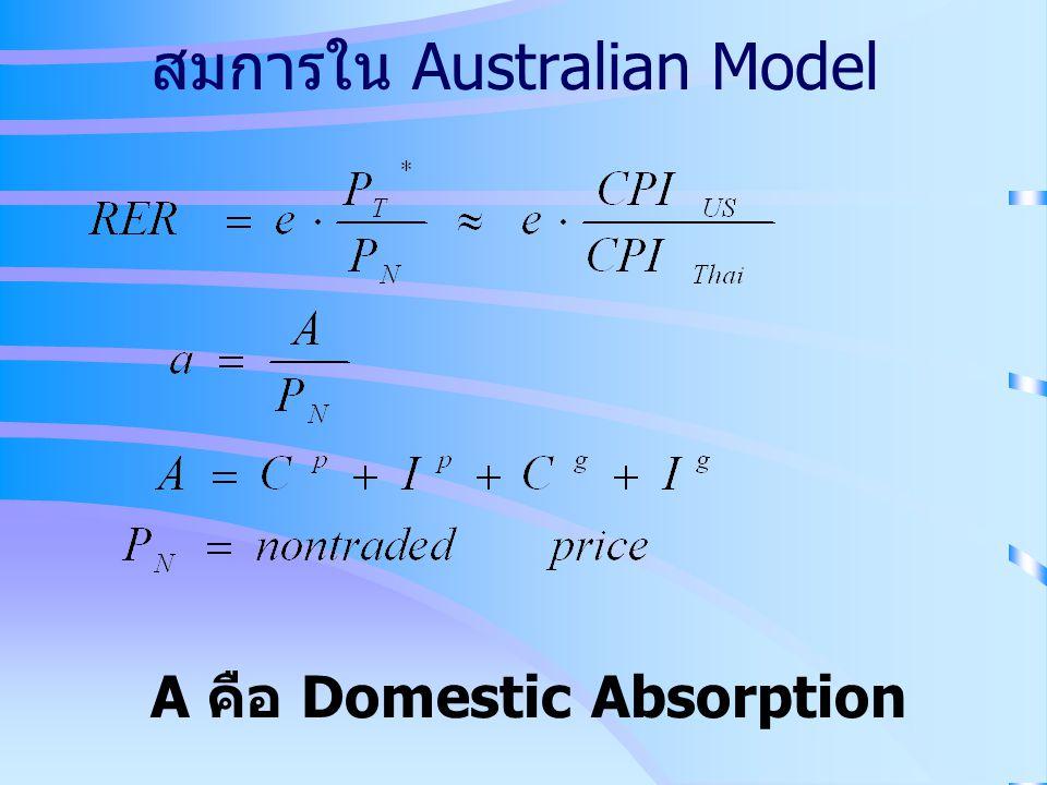 สมการใน Australian Model A คือ Domestic Absorption