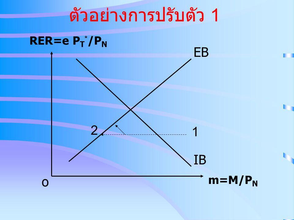 ตัวอย่างการปรับตัว 1 IB EB RER=e P T * /P N m=M/P N o 1 2