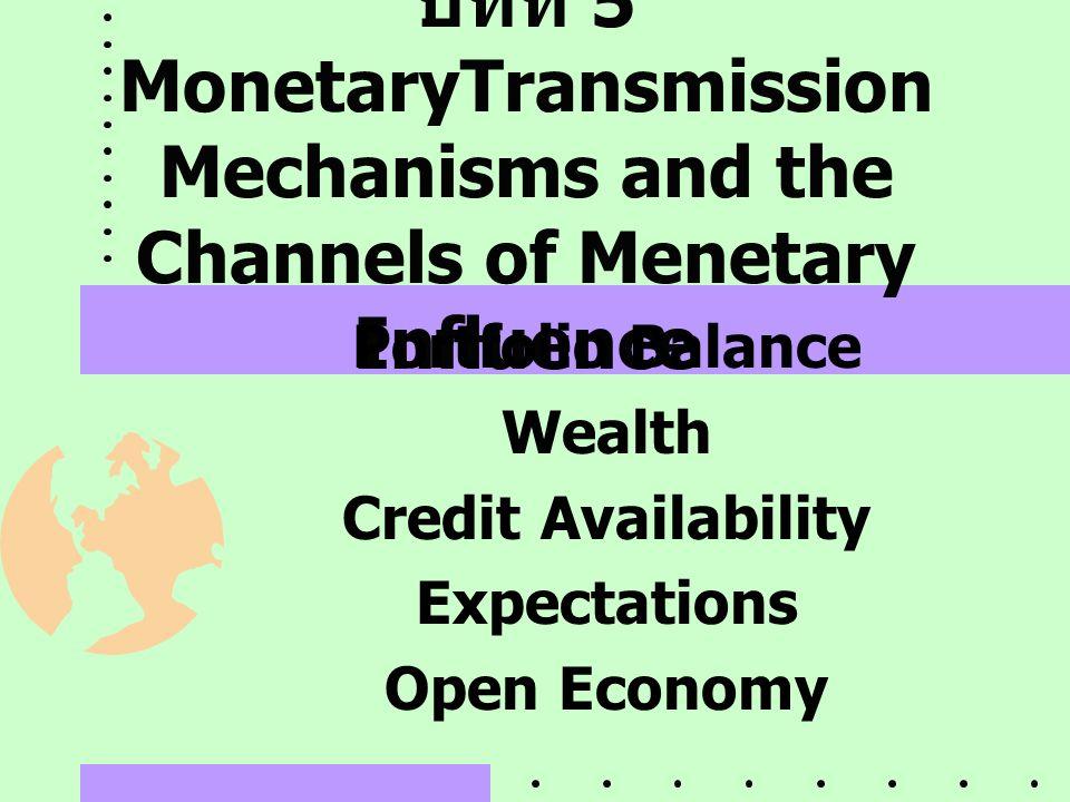 บทที่ 5 MonetaryTransmission Mechanisms and the Channels of Menetary Influence Portfolio Balance Wealth Credit Availability Expectations Open Economy