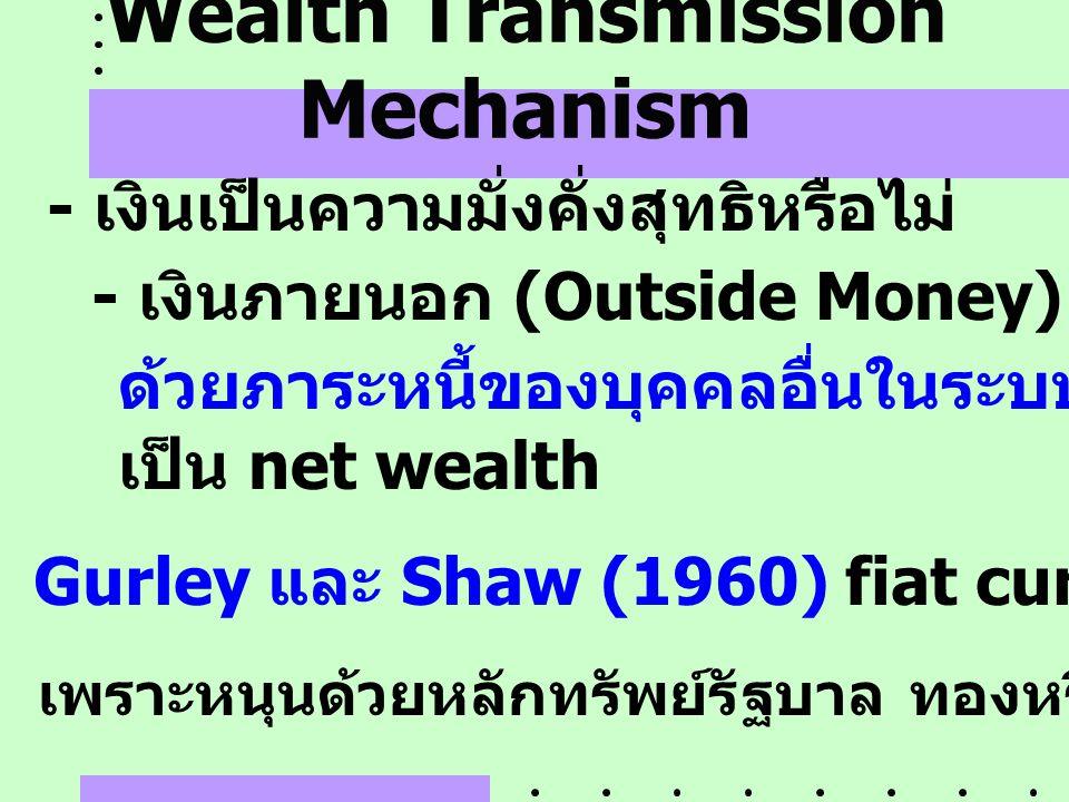 Wealth Transmission Mechanism - เงินเป็นความมั่งคั่งสุทธิหรือไม่ - เงินภายนอก (Outside Money) ( เงินที่ไม่หนุนหลัง Gurley และ Shaw (1960) fiat currenc