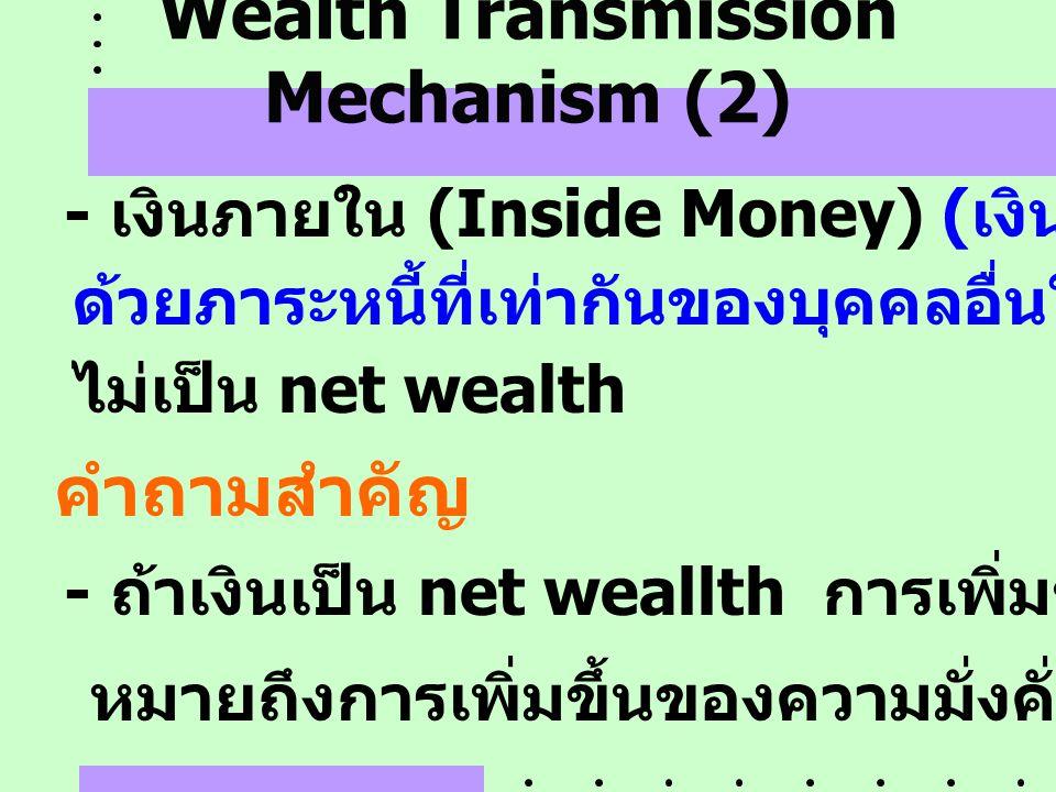 Wealth Transmission Mechanism (2) - เงินภายใน (Inside Money) ( เงินที่หนุนหลัง ด้วยภาระหนี้ที่เท่ากันของบุคคลอื่นในระบบเศรษฐกิจ ) ไม่เป็น net wealth -