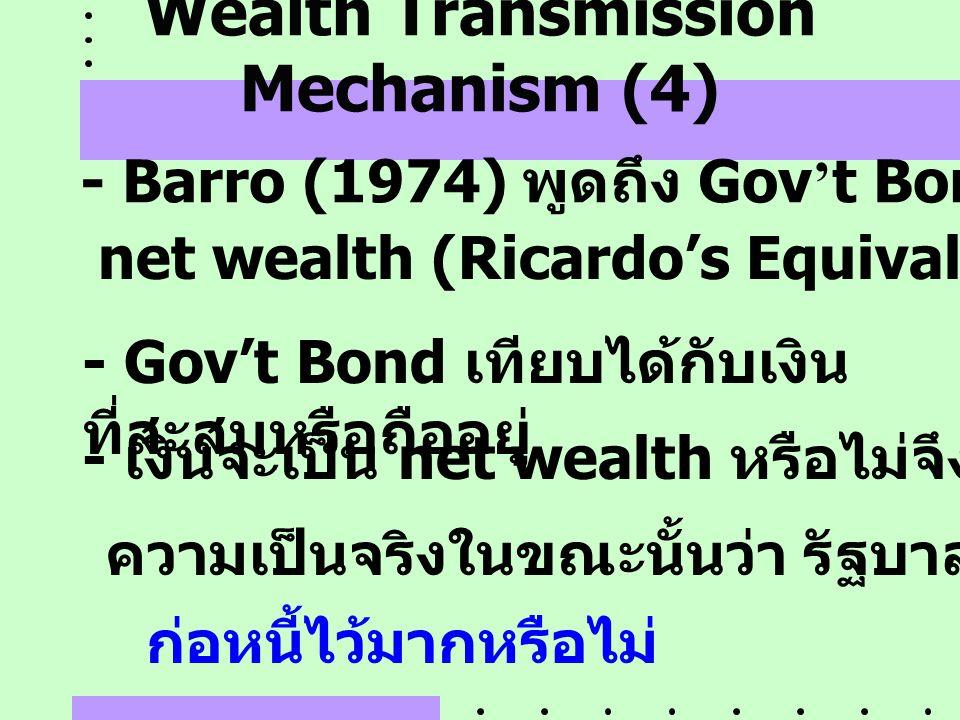 Wealth Transmission Mechanism (4) - Barro (1974) พูดถึง Gov ' t Bond ว่าไม่เป็น net wealth (Ricardo ' s Equivalence Theorem) - เงินจะเป็น net wealth ห