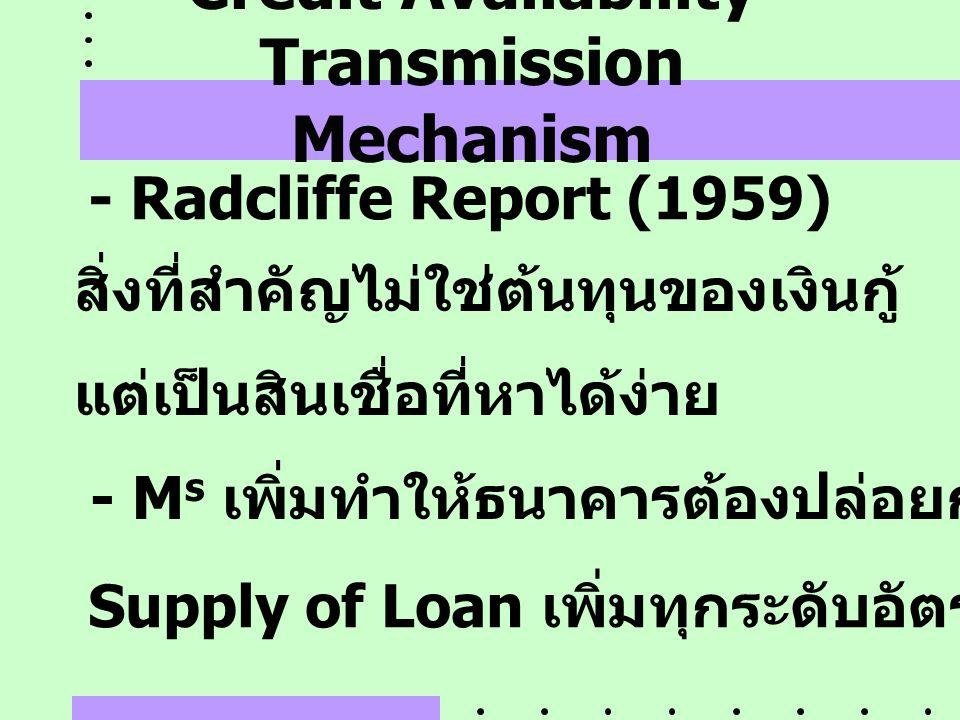 Credit Availability Transmission Mechanism - Radcliffe Report (1959) สิ่งที่สำคัญไม่ใช่ต้นทุนของเงินกู้ แต่เป็นสินเชื่อที่หาได้ง่าย - M s เพิ่มทำให้ธน
