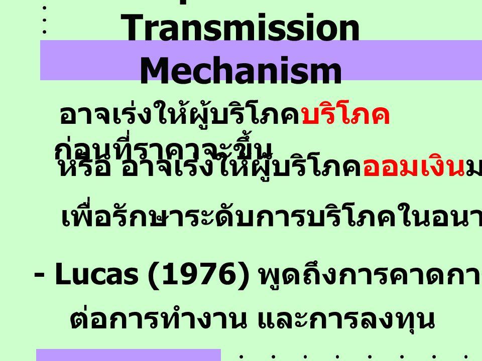 Expectation Transmission Mechanism อาจเร่งให้ผู้บริโภคบริโภค ก่อนที่ราคาจะขึ้น หรือ อาจเร่งให้ผู้บริโภคออมเงินมากขึ้นในปัจจุบัน เพื่อรักษาระดับการบริโ