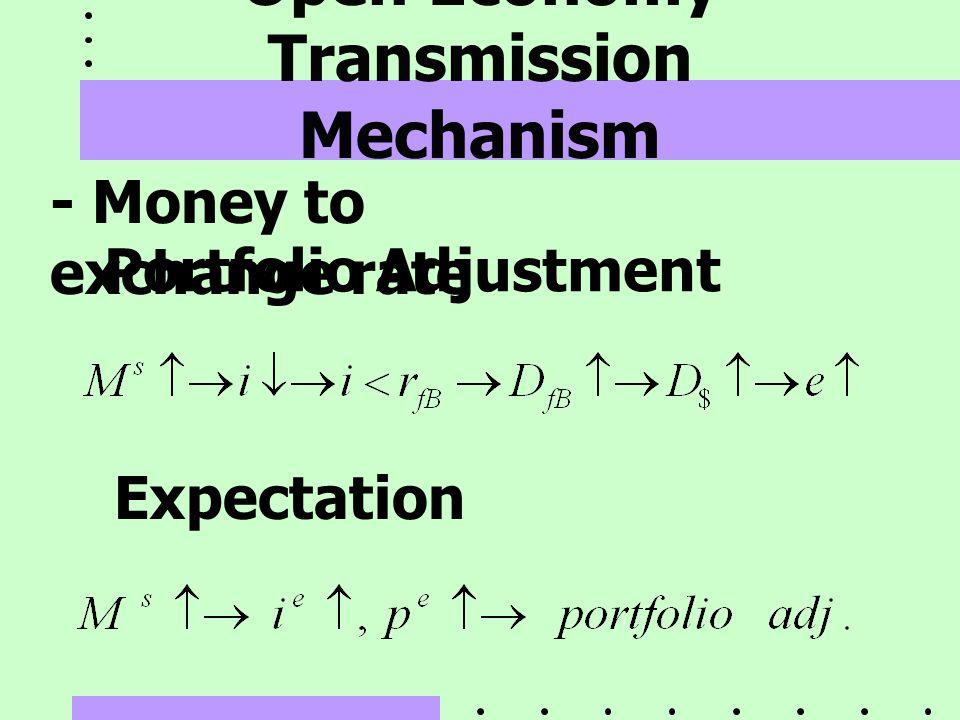 Open Economy Transmission Mechanism - Money to exchange rate Portfolio Adjustment Expectation