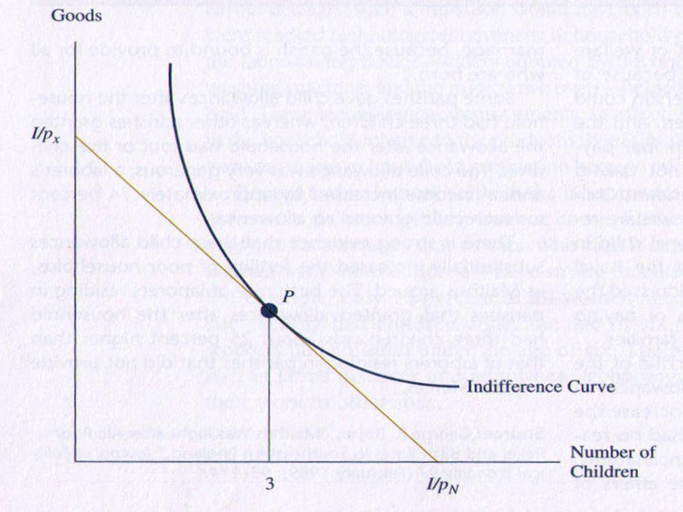  แต่ รายได้ต่อหัวที่เพิ่มขึ้น  อัตราการเจริญ พันธุ์ที่ลดลง  การตัดสินใจเจริญพันธุ์ไม่เพียงขึ้นอยู่กับ รายได้ เท่านั้น แต่ ขึ้นอยู่กับ ราคา ด้วย  ครัวเรือนพิจารณา ( ภายใต้ข้อจำกัด งบประมาณ )  จำนวนบุตร  ปริมาณสินค้าบริการ  ความต้องการมีบุตร ( เป็นสินค้า commodity อย่าง หนึ่ง )  ค่าใช้จ่าย หรือ ต้นทุนทางตรง – เสื้อผ้า อาหาร การศึกษา  ค่าใช้จ่าย หรือ ต้นทุนทางอ้อม – รายได้ที่พ่อ แม่ต้องเสียโอกาสไป