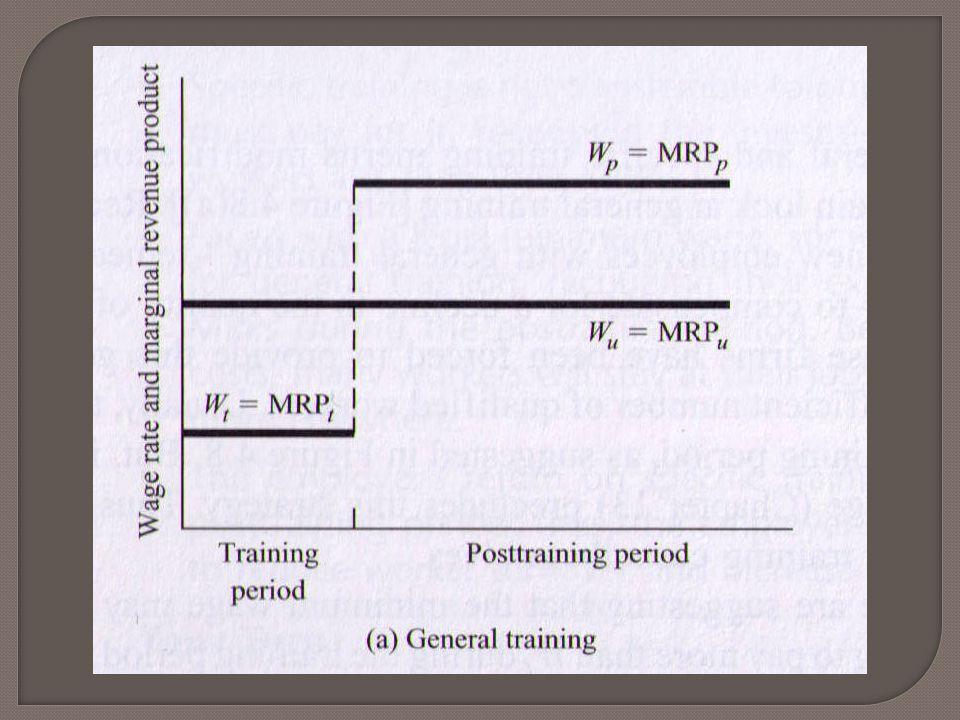  การฝึกอบรมทั่วไป (general training) • การสร้างทักษะที่ได้ประโยชน์แก่ธุรกิจทุกแบบ • เพิ่มผลิตภาพในการทำงานให้กับแรงงานไม่ว่าจะ ทำให้ธุรกิจใด  การฝึกอบรมเฉพาะอย่าง (specific training) • การสร้างทักษะที่ใช้ได้กับธุรกิจเพียงแห่งเดียว  สามารถอธิบาย • ใครจะเป็นผู้รับผิดชอบค่าใช้จ่ายฝึกอบรม • เหตุใดนายจ้างจึงอยากดึงคนงานที่ได้รับการ ฝึกแล้วไว้กับตน