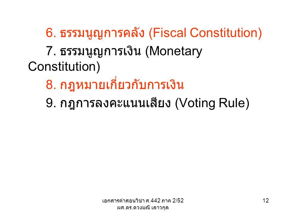 เอกสารคำสอนวิชา ศ.442 ภาค 2/52 ผศ. ดร. ดวงมณี เลาวกุล 12 6. ธรรมนูญการคลัง (Fiscal Constitution) 7. ธรรมนูญการเงิน (Monetary Constitution) 8. กฎหมายเก