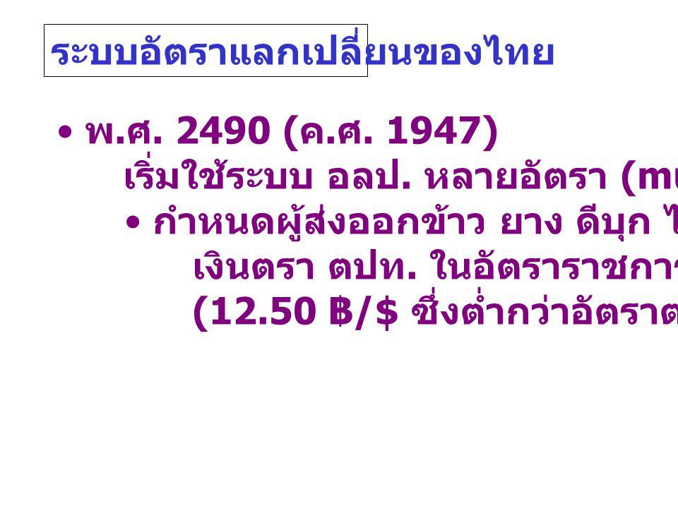ระบบอัตราแลกเปลี่ยนของไทย • พ. ศ. 2490 ( ค. ศ. 1947) เริ่มใช้ระบบ อลป. หลายอัตรา (multiple ER) • กำหนดผู้ส่งออกข้าว ยาง ดีบุก ไม้สัก ให้ขาย เงินตรา ตป