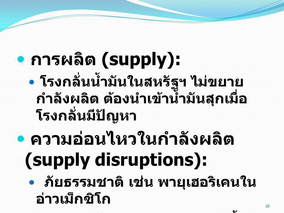  การผลิต (supply):  โรงกลั่นน้ำมันในสหรัฐฯ ไม่ขยาย กำลังผลิต ต้องนำเข้าน้ำมันสุกเมื่อ โรงกลั่นมีปัญหา  ความอ่อนไหวในกำลังผลิต (supply disruptions):