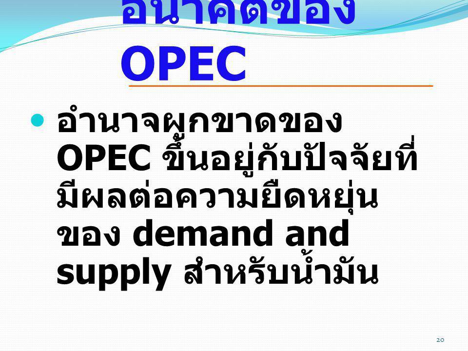  อำนาจผูกขาดของ OPEC ขึ้นอยู่กับปัจจัยที่ มีผลต่อความยืดหยุ่น ของ demand and supply สำหรับน้ำมัน อนาคตของ OPEC 20