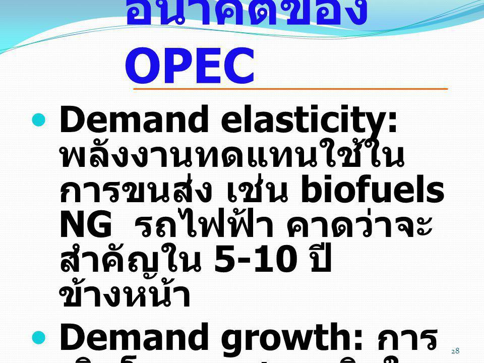  Demand elasticity: พลังงานทดแทนใช้ใน การขนส่ง เช่น biofuels NG รถไฟฟ้า คาดว่าจะ สำคัญใน 5-10 ปี ข้างหน้า  Demand growth: การ เติบโตของเศรษฐกิจใน จี