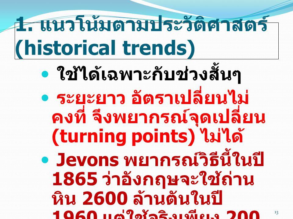 1. แนวโน้มตามประวัติศาสตร์ (historical trends)  ใช้ได้เฉพาะกับช่วงสั้นๆ  ระยะยาว อัตราเปลี่ยนไม่ คงที่ จึงพยากรณ์จุดเปลี่ยน (turning points) ไม่ได้