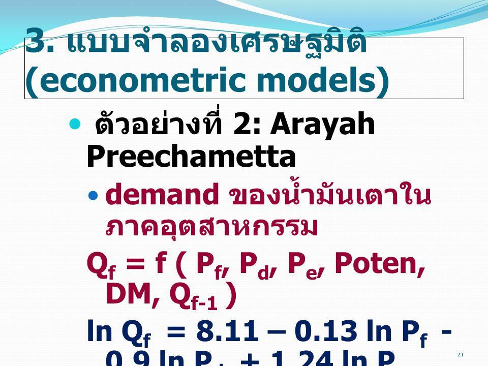 3. แบบจำลองเศรษฐมิติ (econometric models)  ตัวอย่างที่ 2: Arayah Preechametta  demand ของน้ำมันเตาใน ภาคอุตสาหกรรม Q f = f ( P f, P d, P e, Poten, D