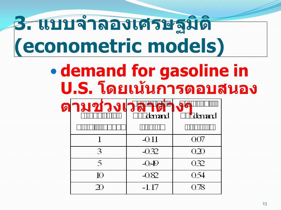 3. แบบจำลองเศรษฐมิติ (econometric models)  demand for gasoline in U.S. โดยเน้นการตอบสนอง ตามช่วงเวลาต่างๆ 23