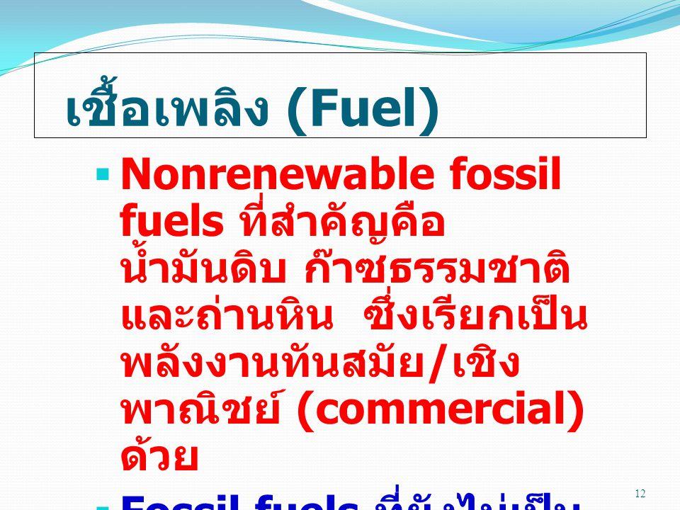 เชื้อเพลิง (Fuel)  Nonrenewable fossil fuels ที่สำคัญคือ น้ำมันดิบ ก๊าซธรรมชาติ และถ่านหิน ซึ่งเรียกเป็น พลังงานทันสมัย / เชิง พาณิชย์ (commercial) ด้วย  Fossil fuels ที่ยังไม่เป็น เชิงพาณิชย์คือ ทราย น้ำมัน (tar sand) และหิน น้ำมัน (oil shale) 12