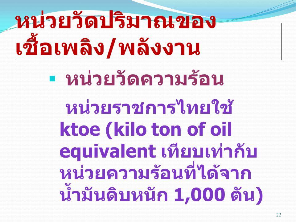 หน่วยวัดปริมาณของ เชื้อเพลิง / พลังงาน  หน่วยวัดความร้อน หน่วยราชการไทยใช้ ktoe (kilo ton of oil equivalent เทียบเท่ากับ หน่วยความร้อนที่ได้จาก น้ำมันดิบหนัก 1,000 ตัน ) 22
