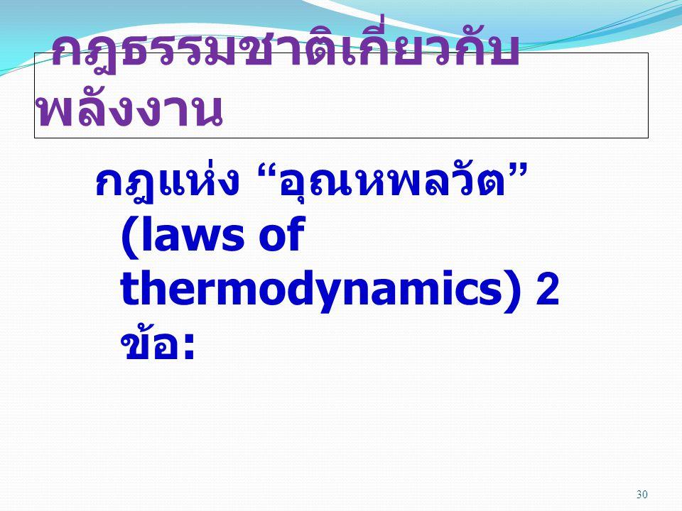 กฎธรรมชาติเกี่ยวกับ พลังงาน กฎแห่ง อุณหพลวัต (laws of thermodynamics) 2 ข้อ : 30
