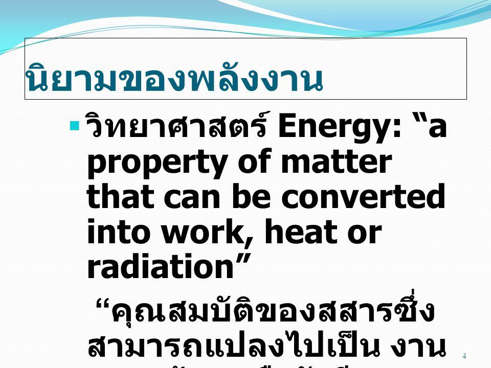 กฎธรรมชาติเกี่ยวกับ พลังงาน 35 อุปกรณ์เปลี่ยนรูปพลังงานจากประสิทธิภาพ (%) เครื่องเป่าผมไฟฟ้า เป็น ความร้อน 100 เตาต้มน้ำใน โรงไฟฟ้าเคมี เป็น ความร้อน 85 มอเตอร์เล็กไฟฟ้า เป็น กล 65 เครื่องรถยนต์เคมี เป็น กล 25 หลอดนีออนไฟฟ้า เป็น แสงสว่าง 20 หลอดกลมไฟฟ้า เป็น แสงสว่าง 5