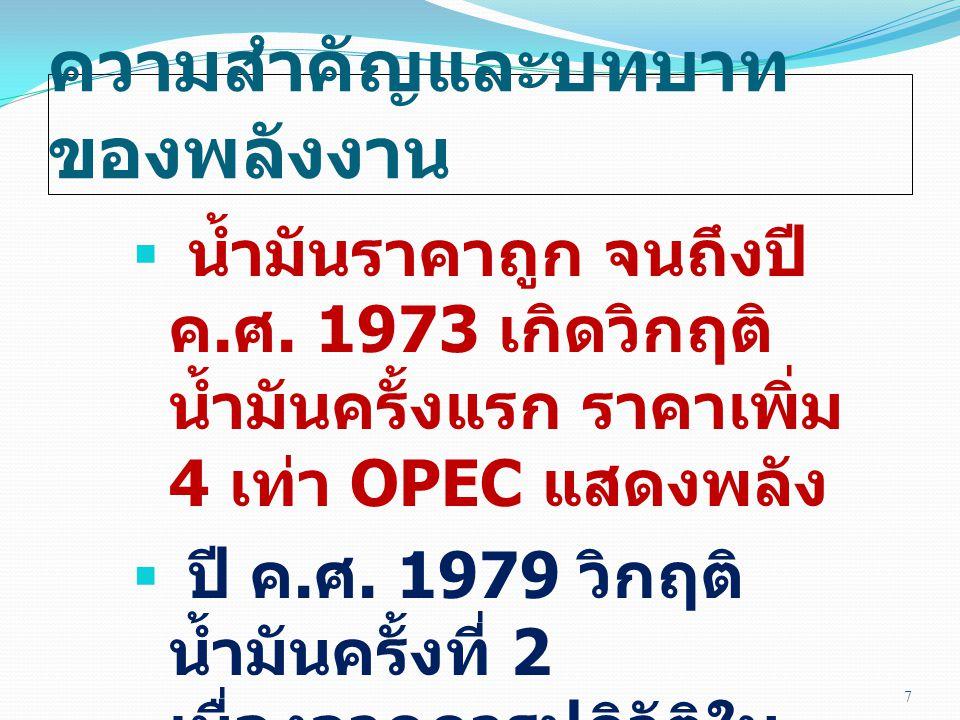 ความสำคัญและบทบาท ของพลังงาน  น้ำมันราคาถูก จนถึงปี ค. ศ. 1973 เกิดวิกฤติ น้ำมันครั้งแรก ราคาเพิ่ม 4 เท่า OPEC แสดงพลัง  ปี ค. ศ. 1979 วิกฤติ น้ำมัน