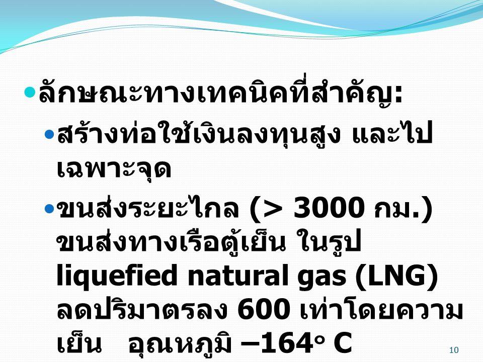 10  ลักษณะทางเทคนิคที่สำคัญ :  สร้างท่อใช้เงินลงทุนสูง และไป เฉพาะจุด  ขนส่งระยะไกล (> 3000 กม.) ขนส่งทางเรือตู้เย็น ในรูป liquefied natural gas (LNG) ลดปริมาตรลง 600 เท่าโดยความ เย็น อุณหภูมิ –164 ๐ C  เป็นเชื้อเพลิงที่เผาไหม้หมดจด ค่อนข้างสะอาด 10