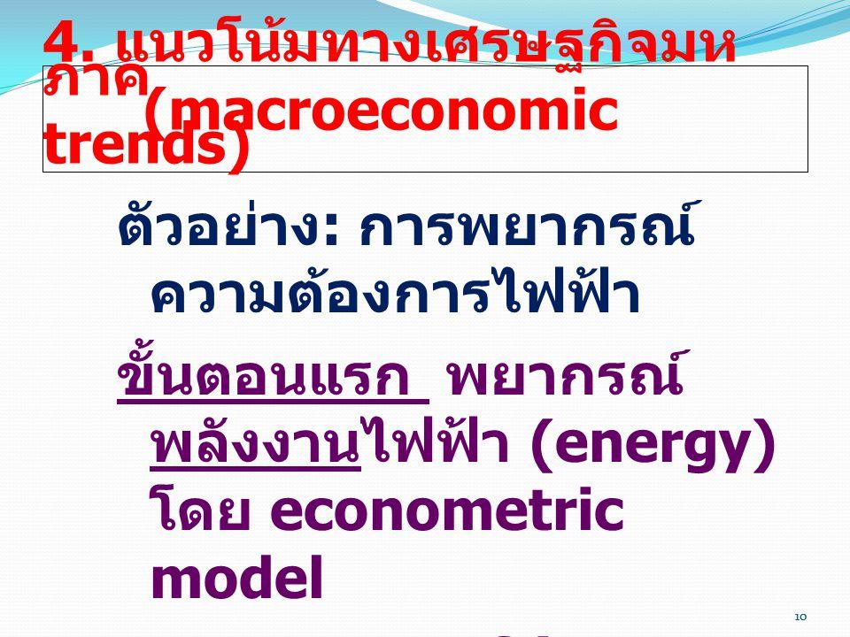 10 4. แนวโน้มทางเศรษฐกิจมห ภาค (macroeconomic trends) ตัวอย่าง : การพยากรณ์ ความต้องการไฟฟ้า ขั้นตอนแรก พยากรณ์ พลังงานไฟฟ้า (energy) โดย econometric