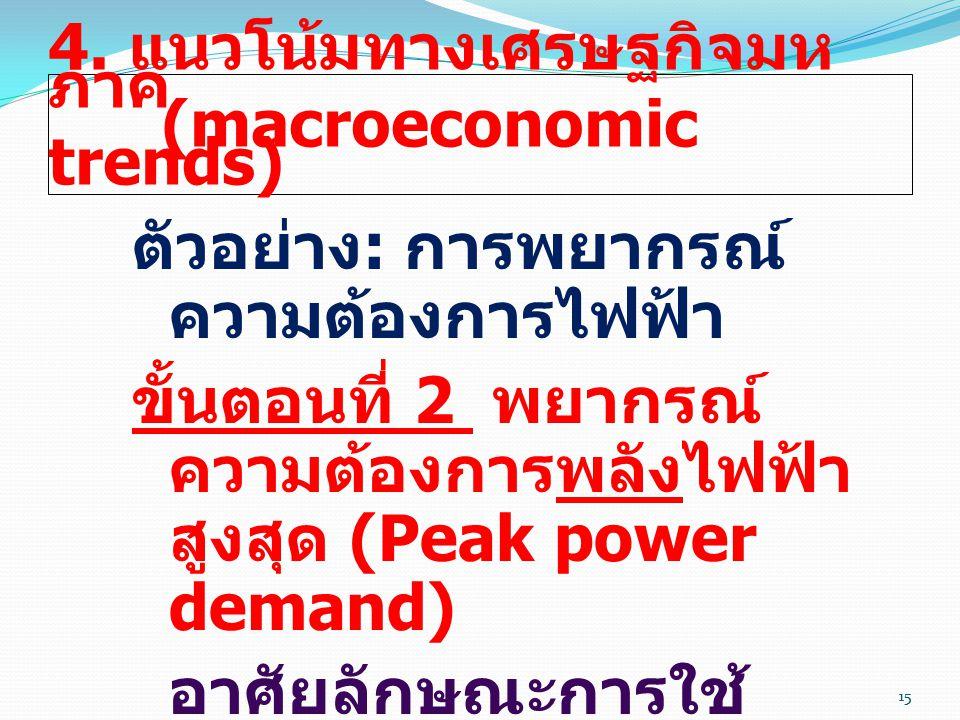 15 4. แนวโน้มทางเศรษฐกิจมห ภาค (macroeconomic trends) ตัวอย่าง : การพยากรณ์ ความต้องการไฟฟ้า ขั้นตอนที่ 2 พยากรณ์ ความต้องการพลังไฟฟ้า สูงสุด (Peak po