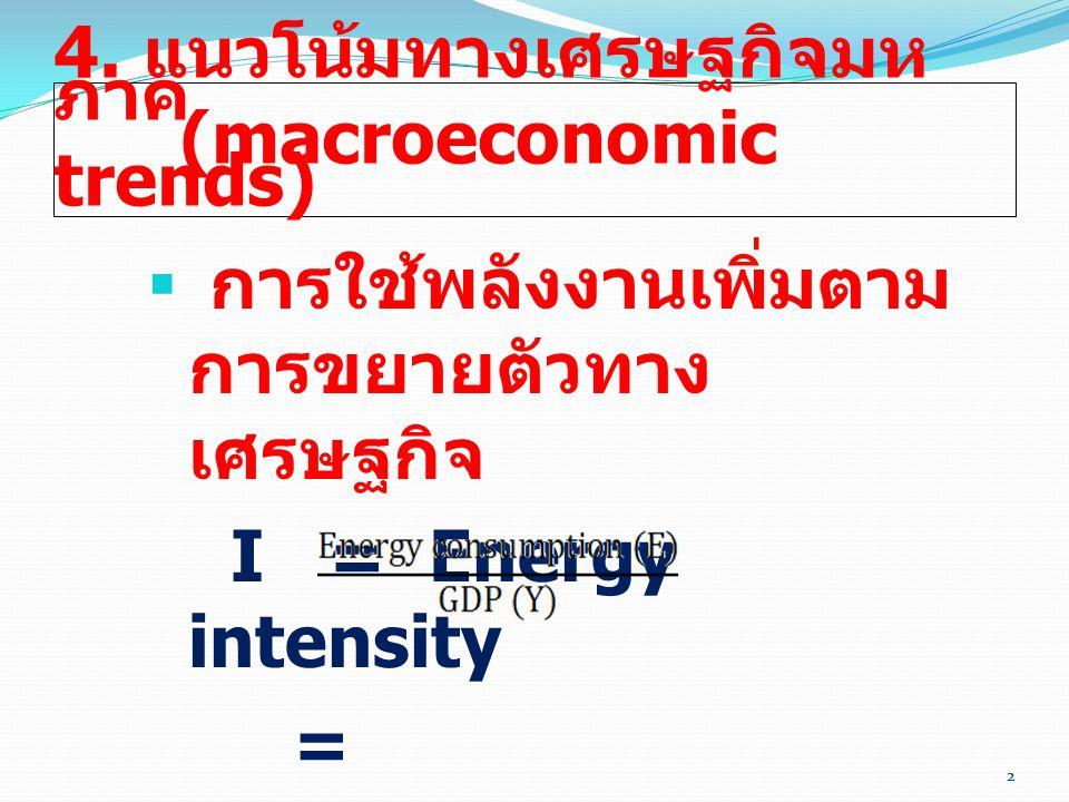 2 4. แนวโน้มทางเศรษฐกิจมห ภาค (macroeconomic trends)  การใช้พลังงานเพิ่มตาม การขยายตัวทาง เศรษฐกิจ I = Energy intensity = 2