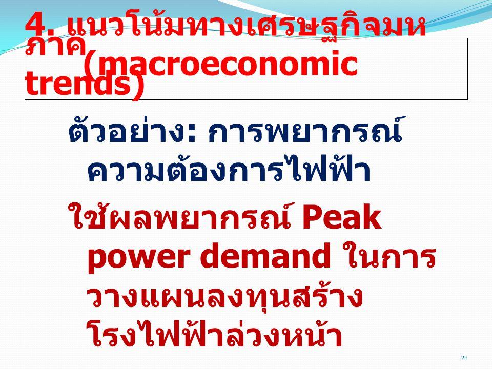 21 4. แนวโน้มทางเศรษฐกิจมห ภาค (macroeconomic trends) ตัวอย่าง : การพยากรณ์ ความต้องการไฟฟ้า ใช้ผลพยากรณ์ Peak power demand ในการ วางแผนลงทุนสร้าง โรง