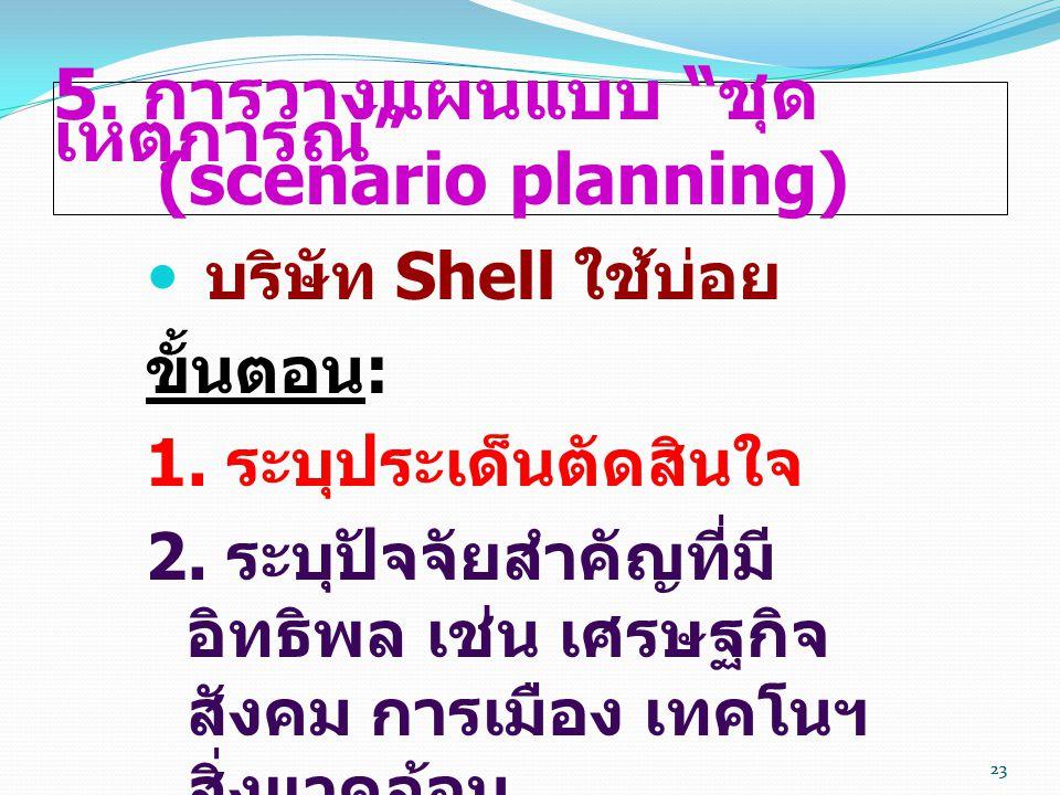 """23 5. การวางแผนแบบ """" ชุด เหตุการณ์ """" (scenario planning)  บริษัท Shell ใช้บ่อย ขั้นตอน : 1. ระบุประเด็นตัดสินใจ 2. ระบุปัจจัยสำคัญที่มี อิทธิพล เช่น"""