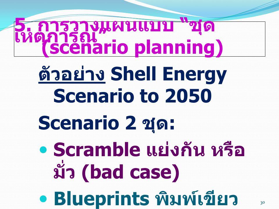 """30 5. การวางแผนแบบ """" ชุด เหตุการณ์ """" (scenario planning) ตัวอย่าง Shell Energy Scenario to 2050 Scenario 2 ชุด :  Scramble แย่งกัน หรือ มั่ว (bad cas"""