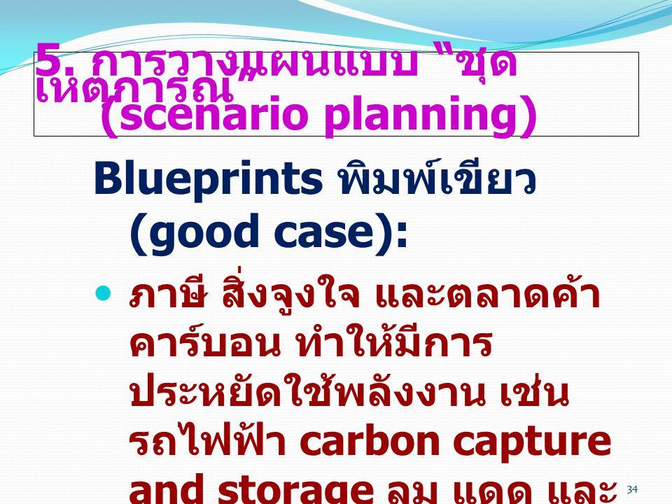 """34 5. การวางแผนแบบ """" ชุด เหตุการณ์ """" (scenario planning) Blueprints พิมพ์เขียว (good case):  ภาษี สิ่งจูงใจ และตลาดค้า คาร์บอน ทำให้มีการ ประหยัดใช้พ"""